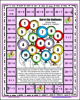 Please enjoy the Burst the Balloons Division Board Game by Games 4 Learning.This math game practices division facts dividing by numbers from 1-...