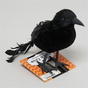 flocked black crow 349477 crowshalloween 2015blackhalloween decorations - Halloween Crow Decorations