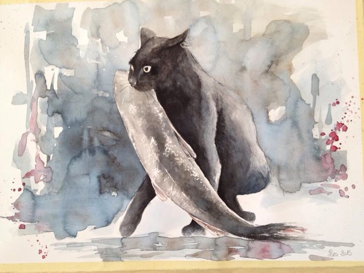"""""""...gatto ladro !"""" Watercolor on paper #watercolor #acquerello #cat #gatti"""