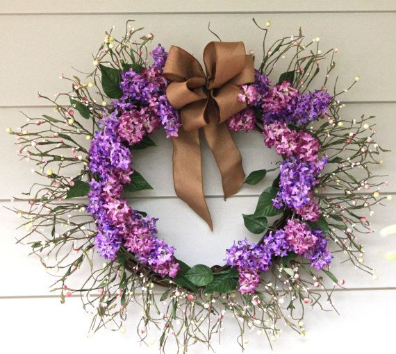 Lilac Dreams grapevine wreath with white and by TheMarkoeHouse, $110.00: Etsy, Natural Ribbons, Lilacs Dreams, Berries Natural, Dreams Grapevine, Accessories Bohemian, Pip Berries, Grapevine Wreaths, Pink Pip