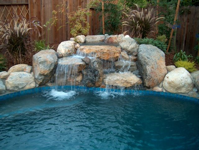 Inground swimming pool waterfalls bing images pool for Rock pool designs