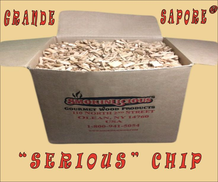 """The Grande Sapore® chip is one of our highly specialized cooking wood products at  SmokinLicious® Gourmet Wood Products. Heartwood slices of Northeastern USA  hardwood are put through a """"crushing"""" process, not a cut.  The hardwood is crushed  much like grapes for wine or fruit for cider which produces an irregular shape, preserves  moisture and releases just the right smoke vapor for superb flavor!"""