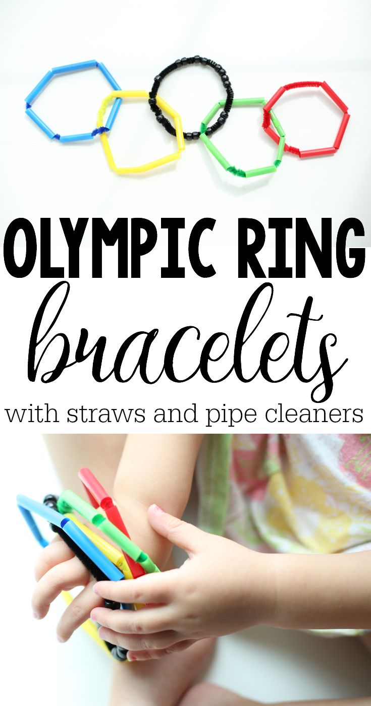 Make these cute Olympic Ring bangle bracelets in honor of the Olympics using only a few simple materials!  Great for fine motor development...and the kids will love wearing their bracelets during the Olympics!