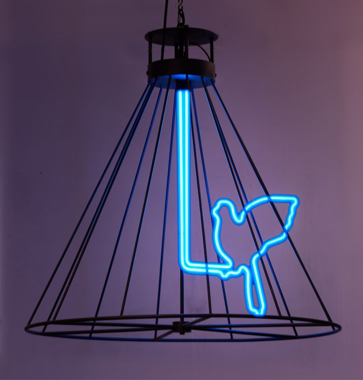 Exceptional Neon Blue Birds Cool Funky Lamp