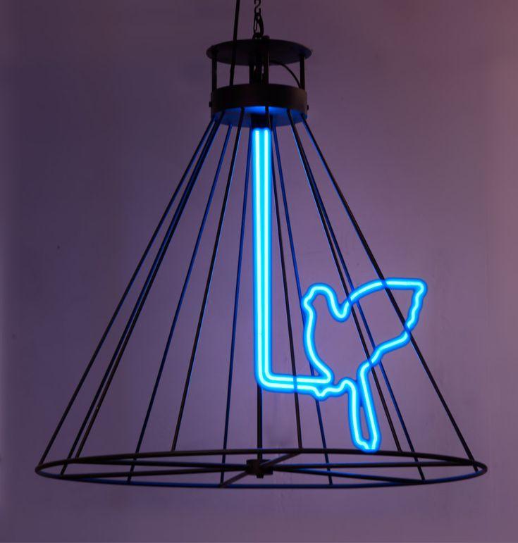 Neon Blue Birds Cool Funky Lamp