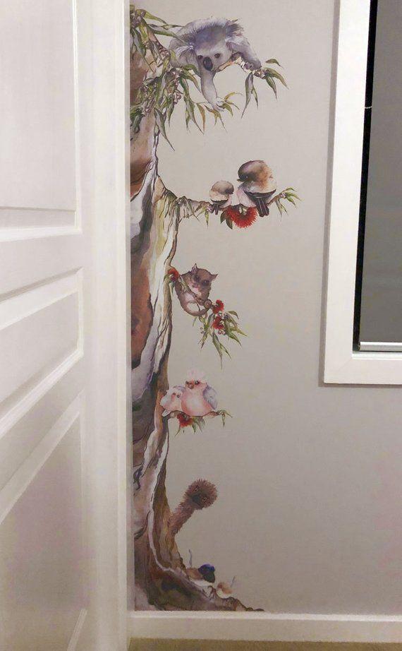 Australian Animal Tree Removable Fabric Watercolour Wall Sticker