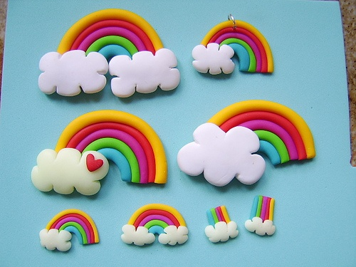 polymerclay rainbow charms,pins and earrings -polymer clay by Pinkrain Indie Design, via Flickr