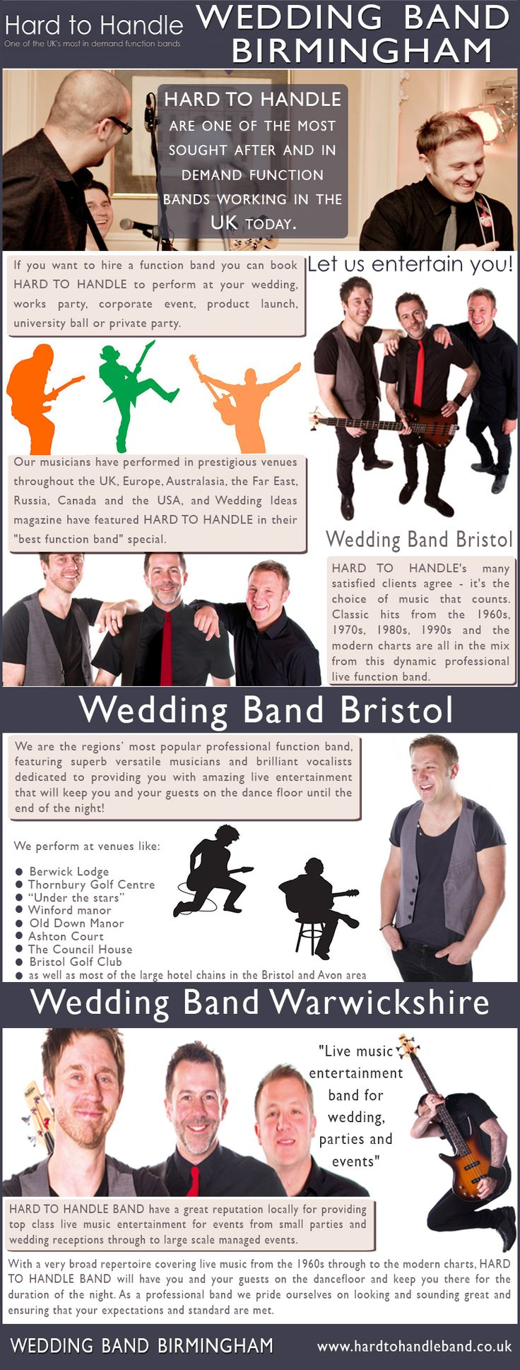 Visit our site http://www.hardtohandleband.co.uk/ for more information on Wedding Band Birmingham. Undoubtedly, music plays an important part in our lives and it becomes a key factor during our wedding ceremony and reception. Tasteful, melodious, theme-appropriate wedding music goes hand in hand with fabulous colors and amazing decorations, creating a unique, unforgettable ambiance. Wedding band Birmingham is a popular choice in wedding music nowadays.