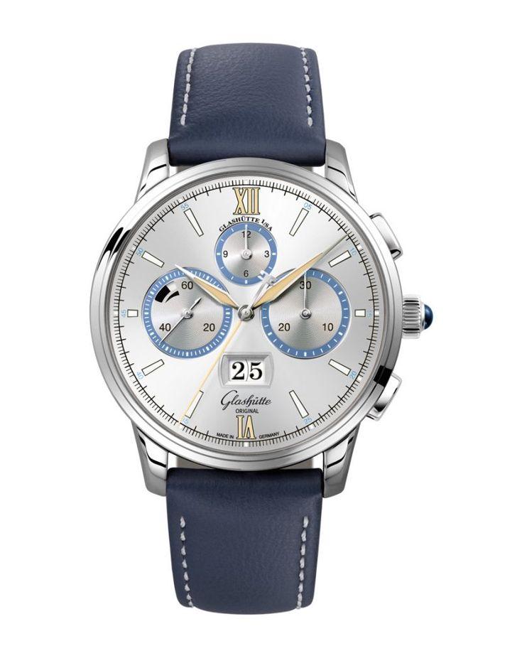 "Glashütte Original Senator Chronograph Capital Edition watch in platinum with ""Dry Silver"" dial."