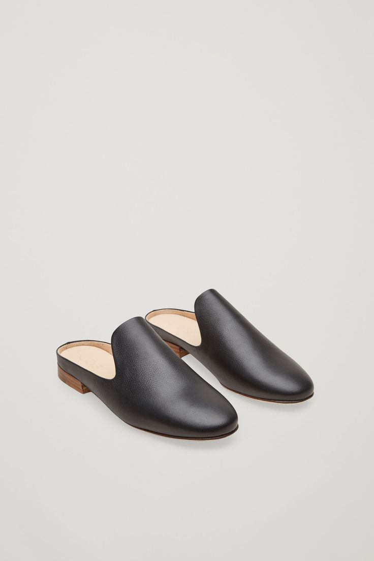 COS image 2 of Slip-on leather loafers in Black