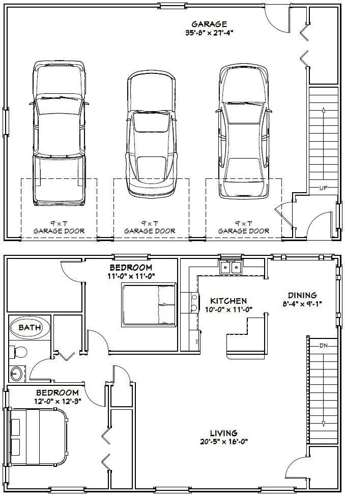 515 best garage images on Pinterest Garage apartments, Small - new blueprint for 3 car garage