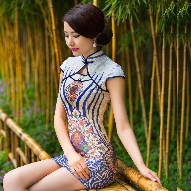 Modern Enamel Print Short Qipao Cheongsam Dress - Qipao Cheongsam & Dresses - Women