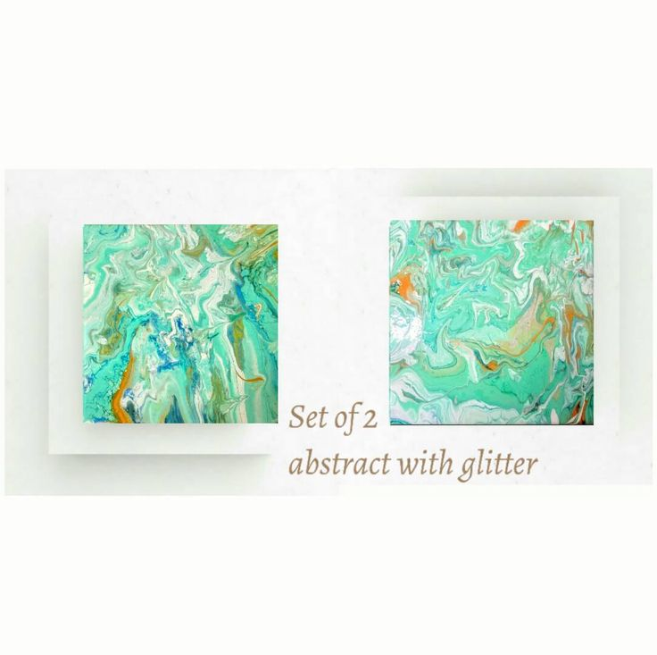 Home deco giftset of 2 original abstract paintingsturqouise