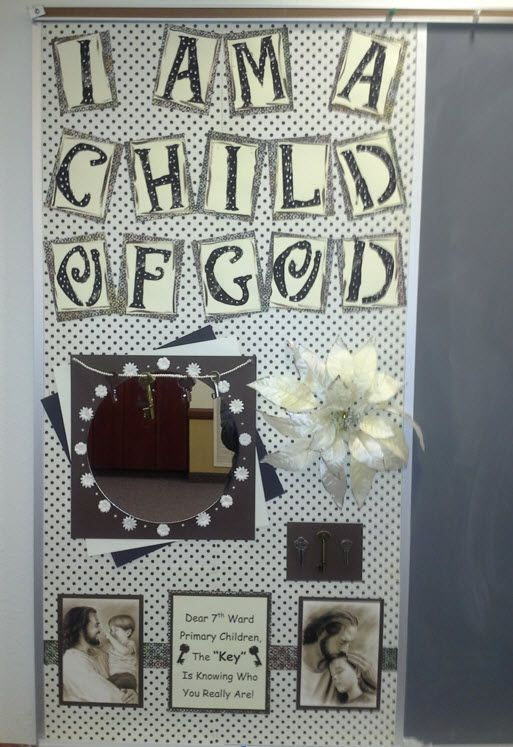 "framed mirror on ""I Am a Child of God"" bulletin board. - not the colors, but the idea -- maybe combine with the chevron pattern on next picture"