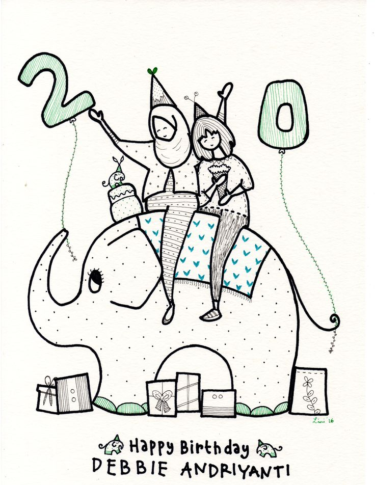 Happy Birthday Debbie Andriyanti   Gelak Tawa / Gift / Doodle / Lini Katahati 2016