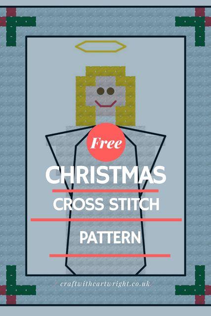 Free cross stitch advent calendar pattern, angel