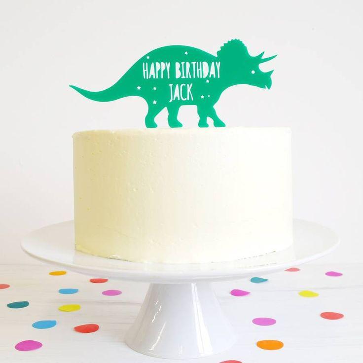 Personalised Triceratops Dinosaur Cake Topper