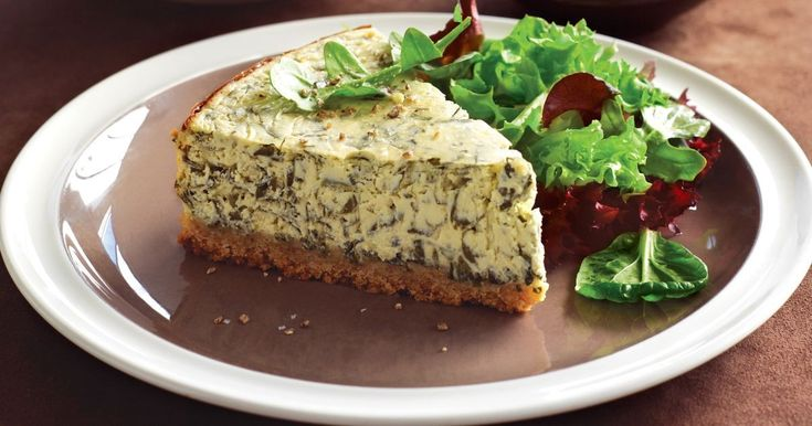 Not unlike a savoury cheesecake, this vegetarian torte incorporates cream cheese & spinach baked golden in a crushed, cracker shell.