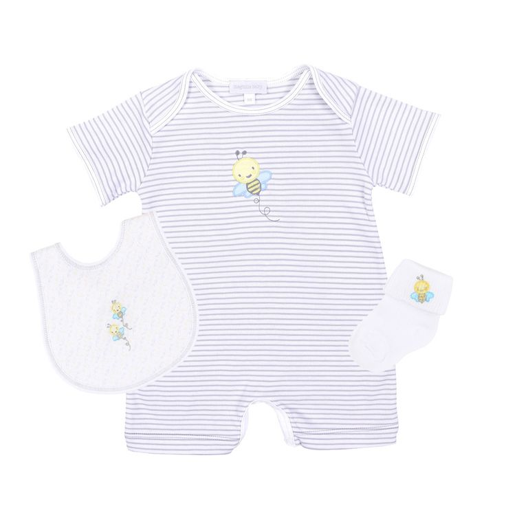 Magnolia Baby Playsuit Layette Set - Sweet as Can Bee Applique