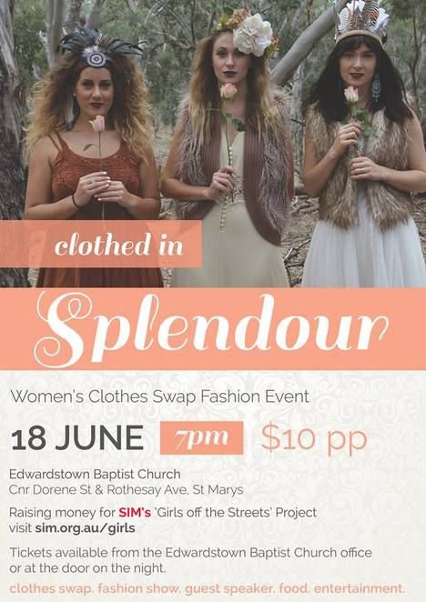 Edwardstown Baptist Church, Clothes Swap, Fashion Swap, Fashion, Event, Raising Money, Charity, SIMS, Girls off the streets project, Good cause, Fundraising, Food, Trafficking, Abuse, Women