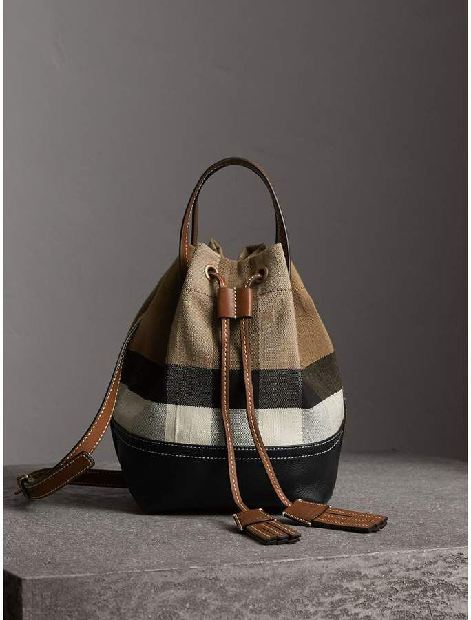 806023aa0d4 Burberry Small Canvas Check and Leather Bucket Bag   purse ideas ...
