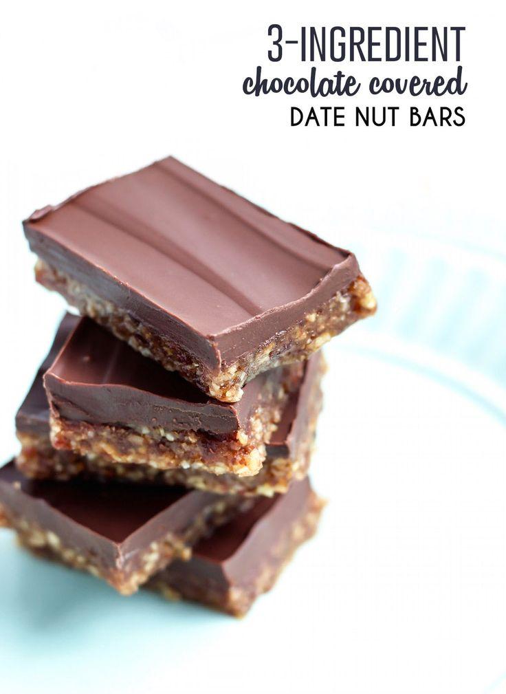 3-Ingredient Dark Chocolate Covered Nut Date Bars. Paleo-friendly!