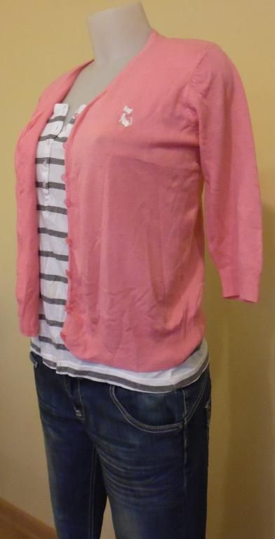 Sweter Damski rozpinany różowy rozmiar 36
