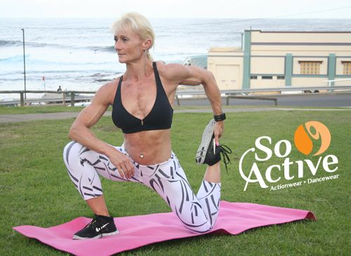 Yoga poses in the park? Yes! Debbie Keen looks amazing in this So Active actionwear.