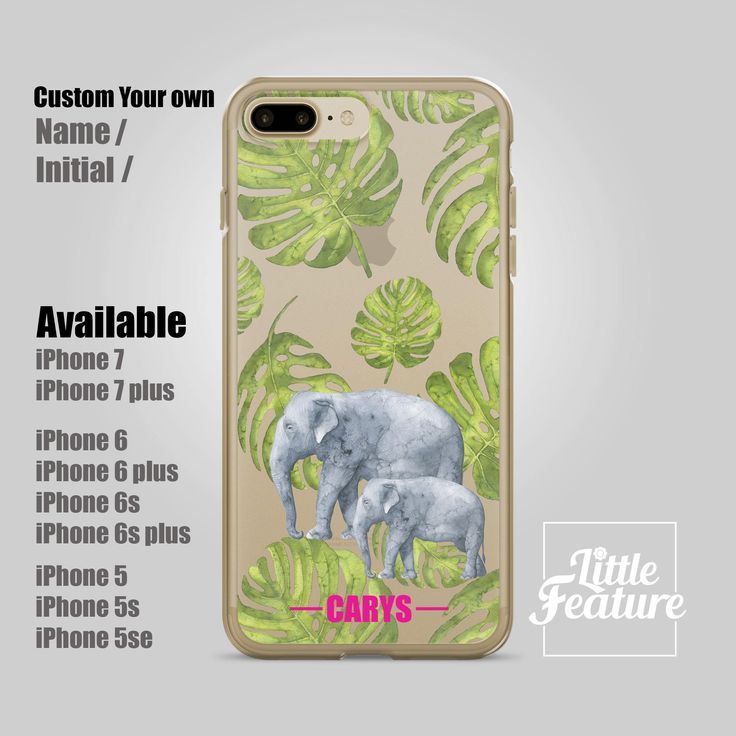 personalized iPhone 7 case, elephant iPhone 6 case, clear case, personalized iPhone 7 plus, iPhone 6s, custom iPhone case (Shipped From USA) by LittleFeature on Etsy