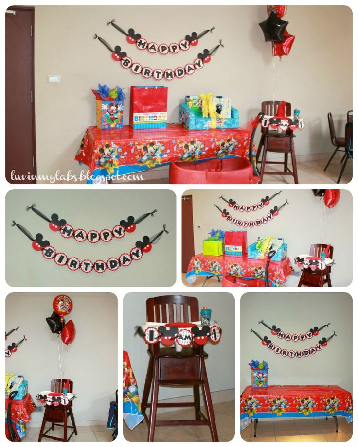 Project Nursery - Mickey Mouse First Birthday Party Gift Table and Banner