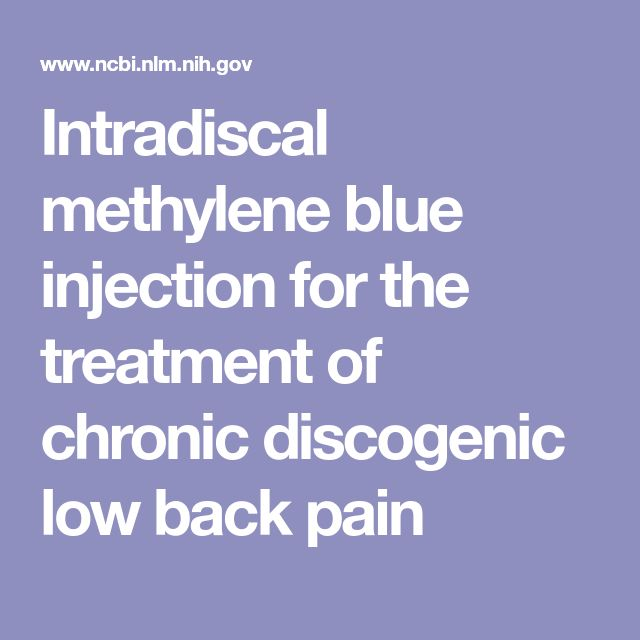 Intradiscal methylene blue injection for the treatment of chronic discogenic low back pain