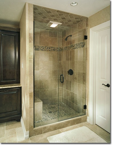 Image detail for river rock shower floor and accent bar for River rock bathroom ideas