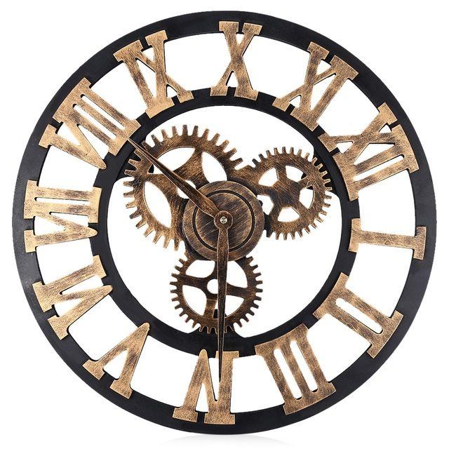2017 Nueva 17.7 Pulgadas Reloj de Pared de Gran Tamaño 3D BRICOLAJE Hierro Sala de estar Relojes Decorativos Arte Retro Números Romanos de Diseño Para El Hogar decoración