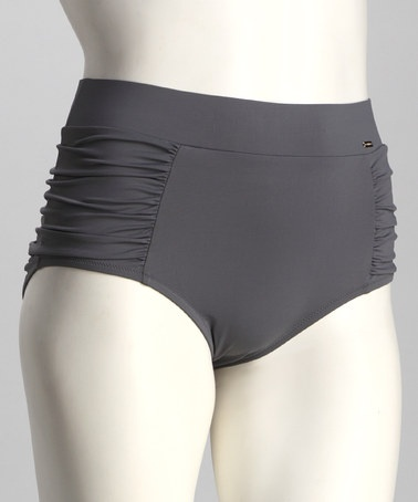 Sorella Swim Gray Ruched Plus-Size High-Waisted Bikini Bottoms by Wear It Now