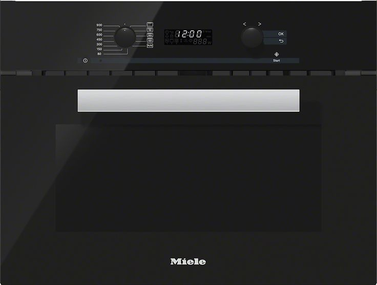 M 6262 TC - Built-in microwave oven with controls along the top for optimal combination possibilities.--Obsidian black
