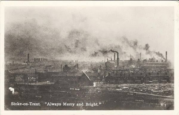 Always merry and Bright A post card from about 1900 showing pollution of the Potteries