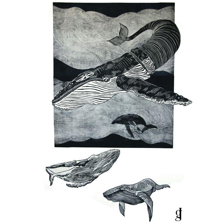 #whale #linocut #wave #linoryt #poland #art #graphics #grafika #travel