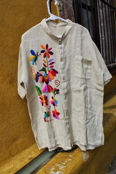 cotton shirts hand embroidered/ camisas bordadas para hombre