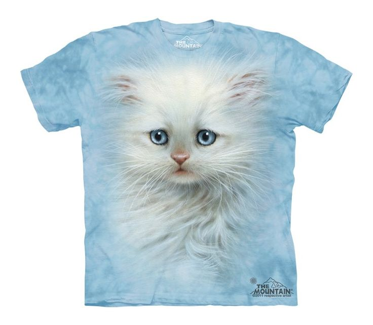 Big Face Fluffy White Kitten T-Shirt - Click image to see hundreds of different animal t-shirts #themountaintees