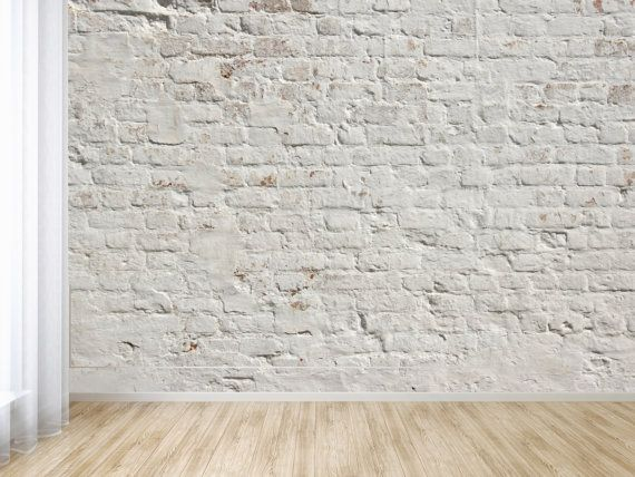 White Washed Brick Peel and Stick Wallpaper / Adhesive