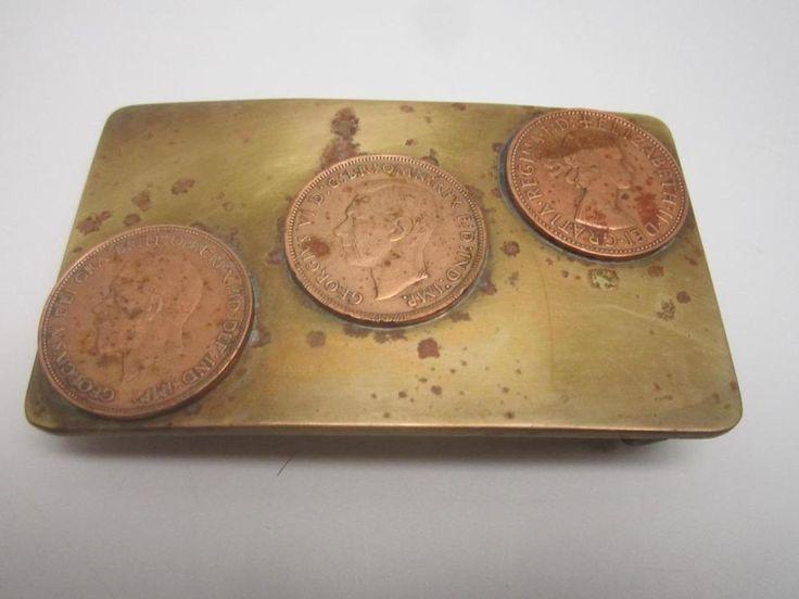 Vtg Handmade Brass Belt Buckle W/3 Australian Coins Georgivs VI, V & Queen Eliz #Handmade #australiancoins #beltbuckle #brassbuckle