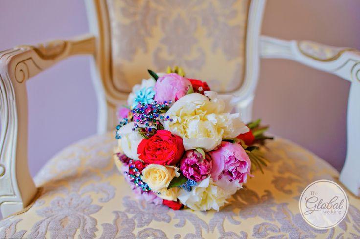Разноцветный букет невесты. Wedding bouquet.