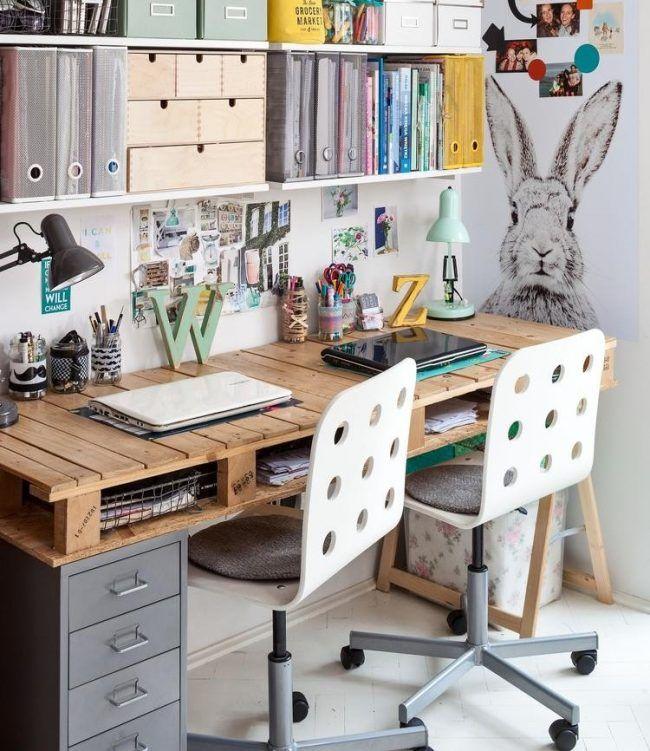 Schreibtisch Selber Bauen Paletten-kinderzimmer