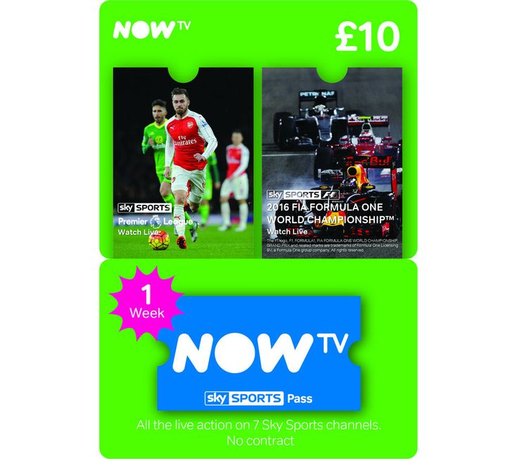 NOW TV  Sky Sports Pass - 1 Week Price: £ 10.00 Watch the biggest matches on your NOW TV box with the one-week NOW TV Sky Sports Pass . With access to all of the Sky Sports channels, you won't miss the big races, your team's match or the golf tour. With this sports package, you can enjoy some of the biggest matches and live events, streamed straight to your television. You'll be able to enjoy...