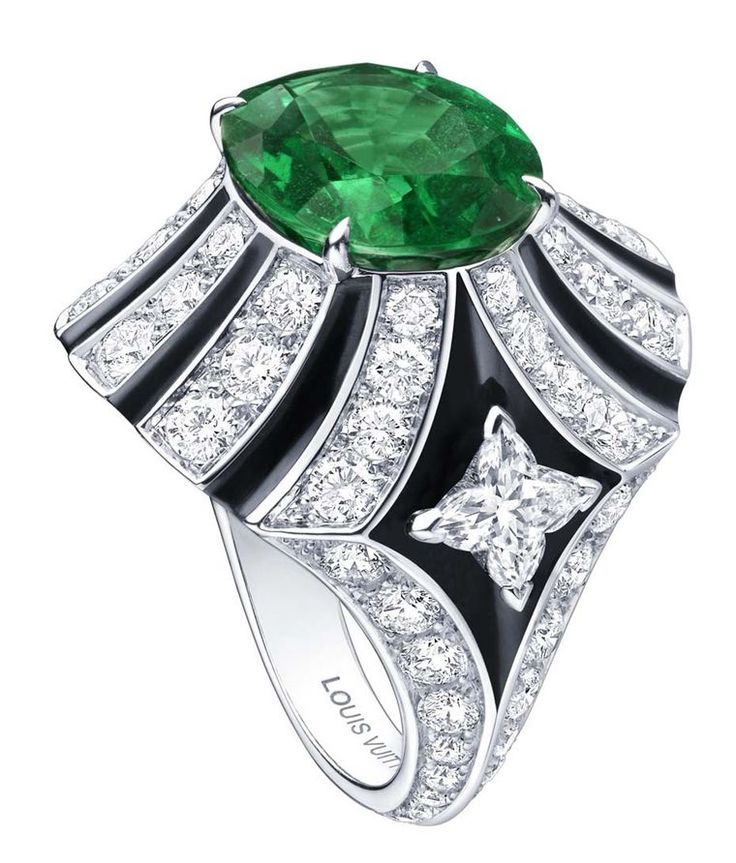 This Louis Vuitton green emerald ring with onyx and diamonds gives the impressive African emerald centre stage. See the rise of the African Emerald compared to the more famous Colombian: http://www.thejewelleryeditor.com/jewellery/african-emeralds-emerald-jewellery/ #jewelry #fashion