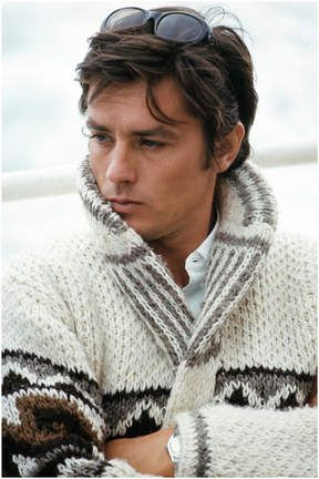 Alain Delon rocking sweaters like a beast.