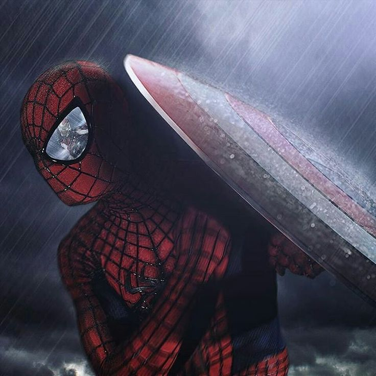 Love this amazing photoshop from thespiderdad - Civil War Spiderman with Captain America's shield