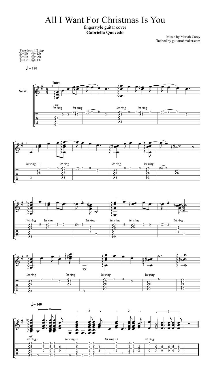 All I Want For X'mas Is You easy fingerstyle guitar tab