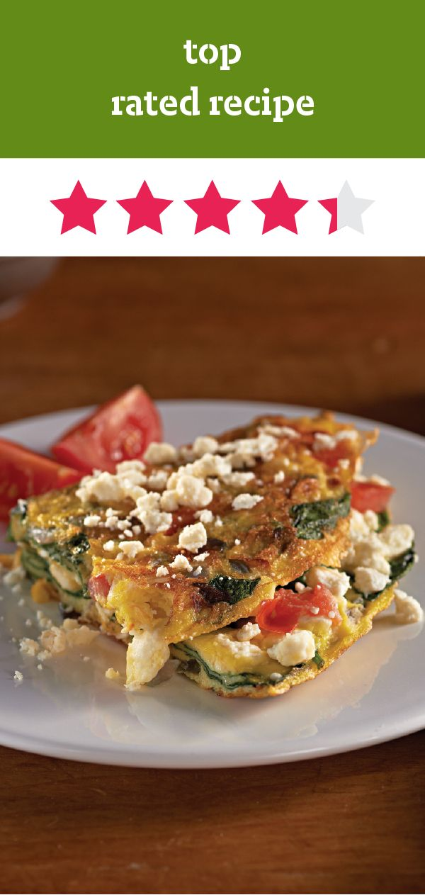 Greek Omelet with Feta – The feta cheese, baby spinach leaves, and ...