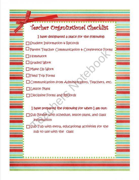 First Day Organizational Checklist - Classroom Management